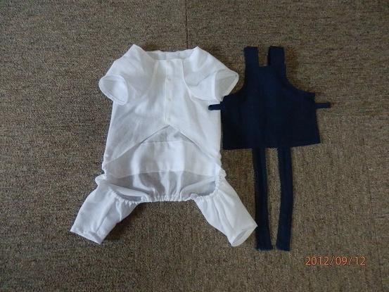 1444 白装束はさらしで…腹掛けは藍の手拭で作りました。 前から見ると こんな... わんこ用